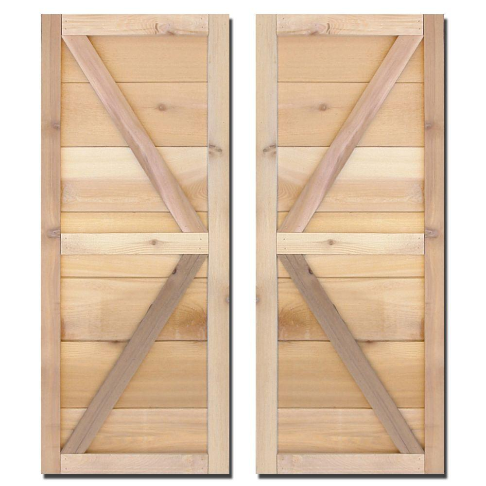 Design Craft MIllworks 12 in. x 39 in. Natural Cedar Board-N-Batten Adler Shutters Pair