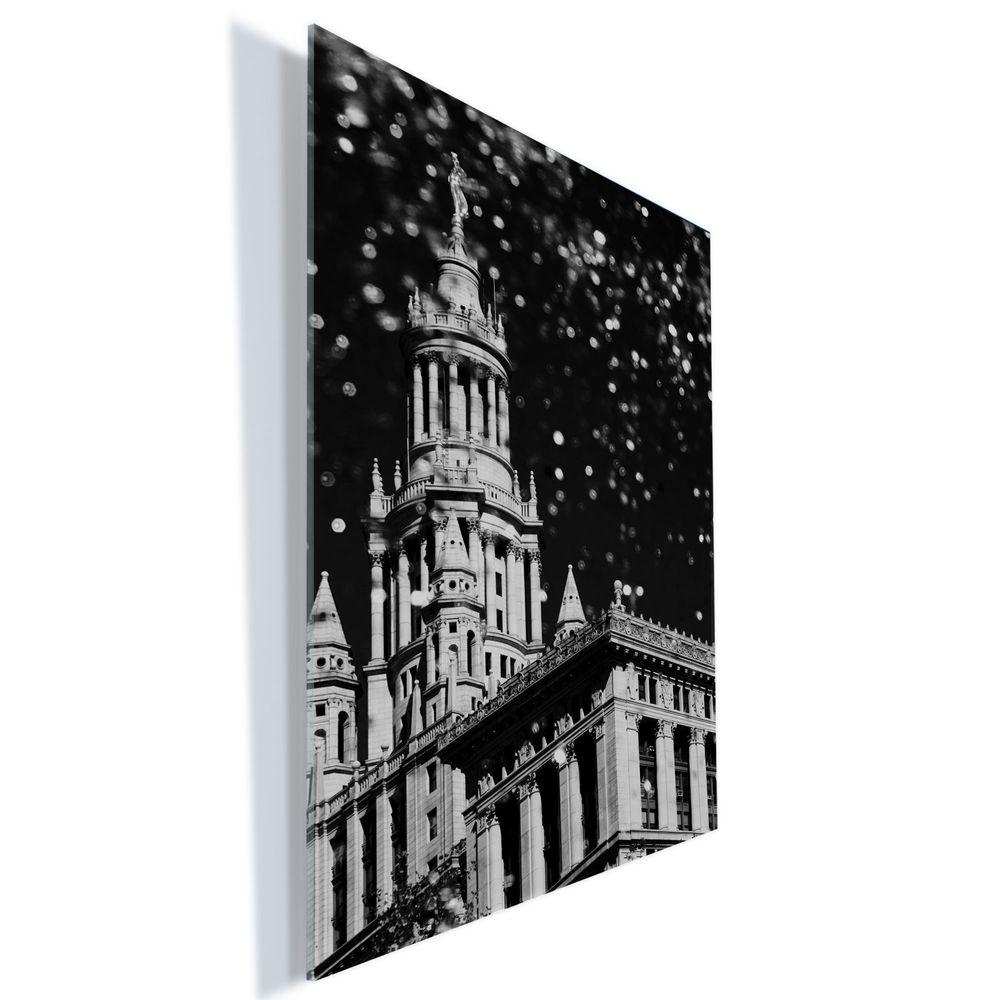 """Trademark Fine Art 24 in. x 18 in. """"Waterfall Over City Hall"""" by Yale Gurney Printed Acrylic Wall Art"""