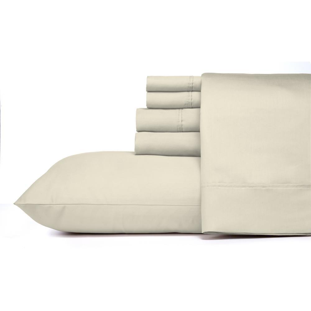 Morgan Home Morgan Home MHF Home 6-Piece White Solid Cotton Rich Queen Sheet Set