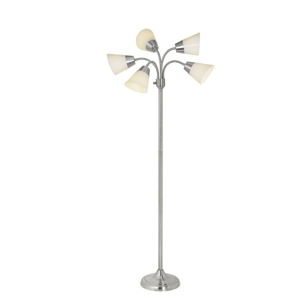 Marvelous Brushed Nickel Floor Lamp With 5 Plastic Bell Shades