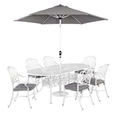 Floral Blossom White 7-Piece Patio Dining Set with Umbrella - Home Styles - Metal Patio Furniture - Cottage - Patio Dining Sets