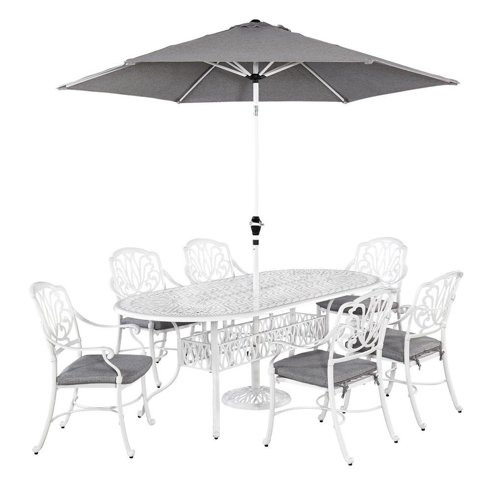Floral Blossom White 7-Piece Patio Dining Set with Umbrella