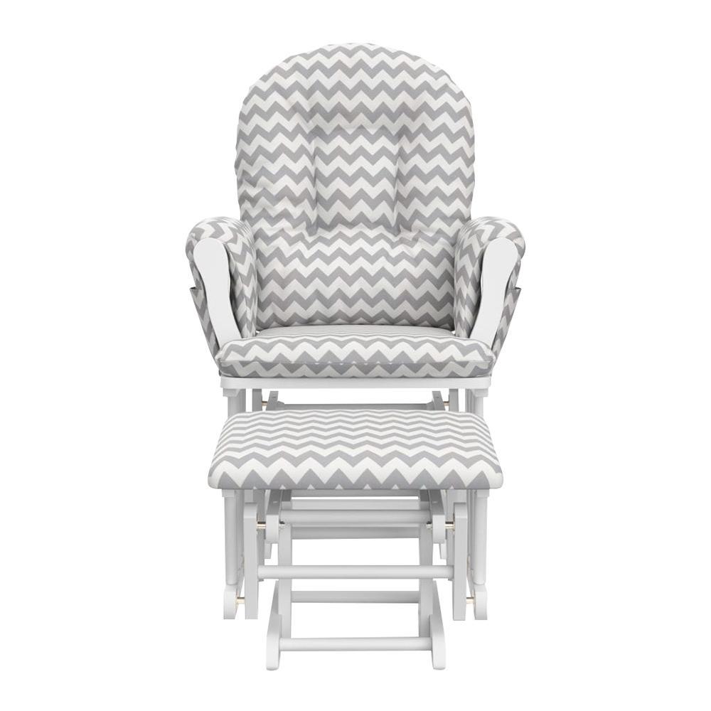 Fine Storkcraft White With Gray Chevron Cushion Hoop Glider And Uwap Interior Chair Design Uwaporg