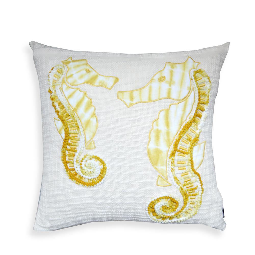 A1HC Lorelei Off-White/Yellow Seahorse 20 in. Pillow