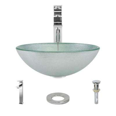 Glass Vessel Sink in Sparkling Silver with R9-7003 Faucet and Pop-Up Drain in Chrome