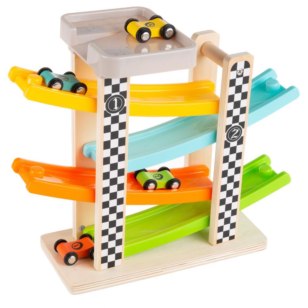 Hey! Play! Wooden Car Ramp Racecar Set-HW3500071
