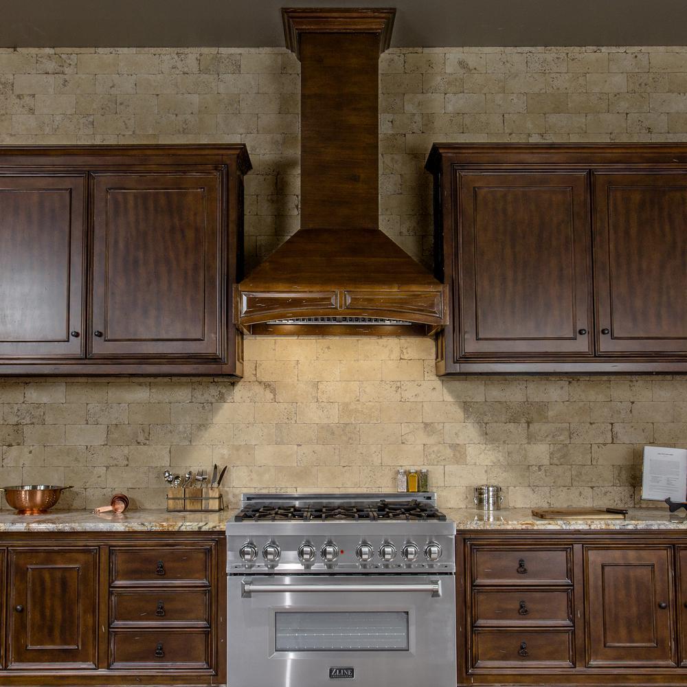 Zline Kitchen And Bath 48 In Wooden Wall Mount Range Hood Walnut Includes Motor