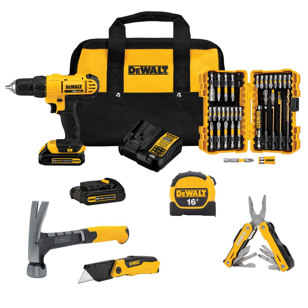 DEWALT 20-Volt MAX Lithium-Ion Cordless 1/2 in. Drill / Driver with (2) Batteries, Charger and Hand Tools (New Homeowners Kit) was $179.0 now $109.0 (39.0% off)