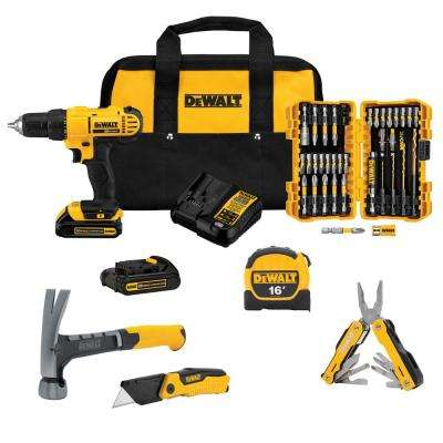20-Volt Lithium-Ion Cordless ½ in. Drill / Driver Project Kit with (2) Batteries, Charger and Hand Tools