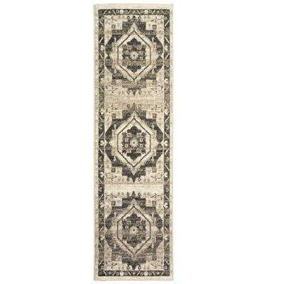 Matrix Modern Grayscale Oriental Stone / Magnet Rectangle 2 ft. 1 in. x 7 ft. 5 in. Indoor Runner Rug