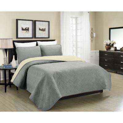 Reversible Austin 3-Piece Grey and Cream Full and Queen Quilt Set
