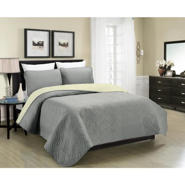 Morgan Home MHF Home Allison Reversible 3-Piece Grey and Cream Full