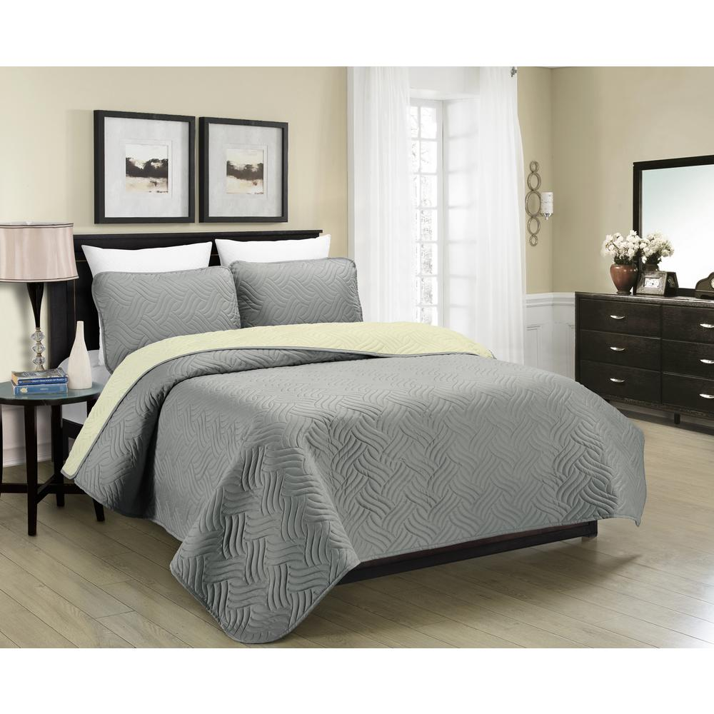 Blissful Living Reversible Austin 3 Piece Grey And Cream Full And Queen  Quilt Set