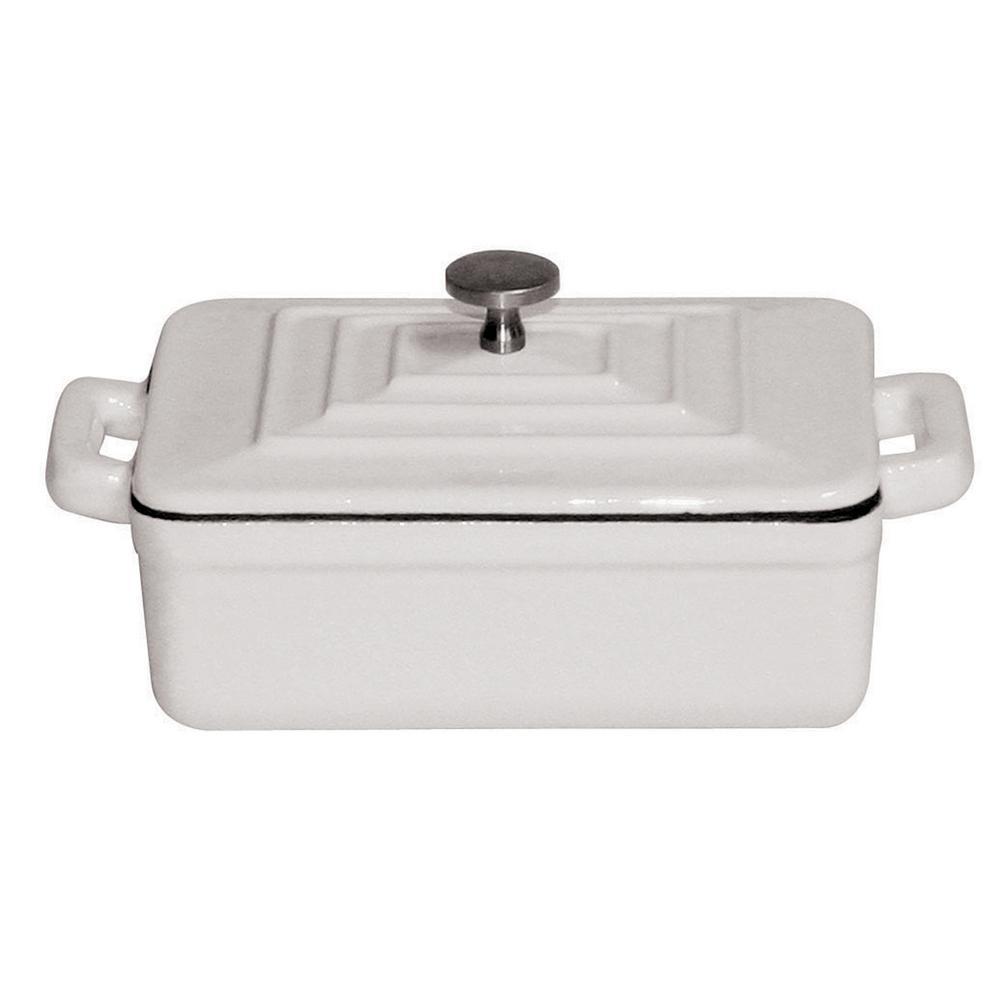 12 oz. Mini Cast Iron Rectangular Dutch Oven in White
