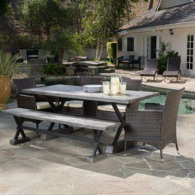 4 5 person composite patio dining furniture patio furniture ponza brown 7 piece wicker outdoor dining set watchthetrailerfo