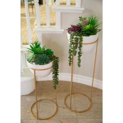 36 in. and 29 in. Artificial Succulent Garden in Ceramic Pot on Gold Metal Stand,SET OF 2