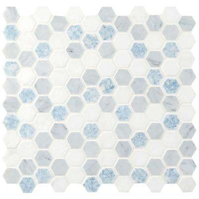 Azula Hexagon 11.81 in. x 11.61 in. x 10mm Polished Marble Mesh-Mounted Mosaic Tile (0.95 sq. ft.)