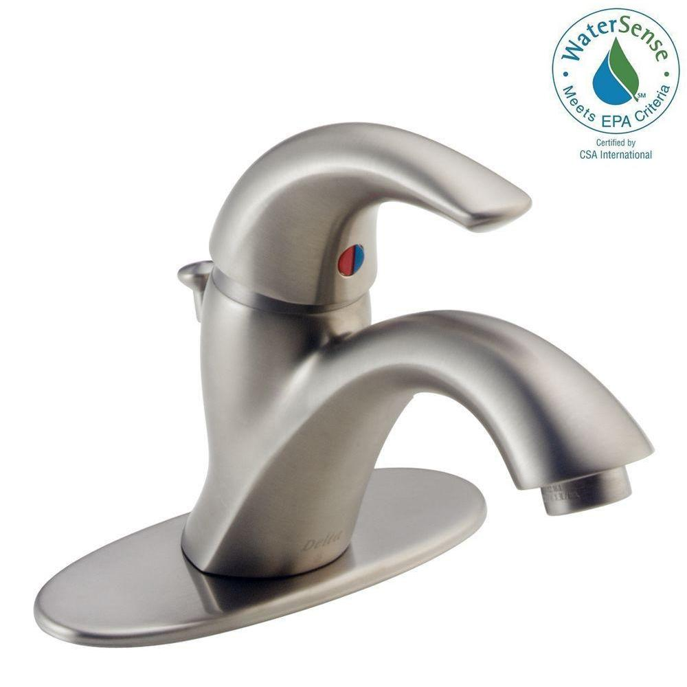 Delta Classic Single Hole Single-Handle Bathroom Faucet in Stainless ...