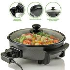 12 In. Black Non Stick Electric Skillet Aluminum Body and Tempered Glass Lid, Removable Temperature Knob