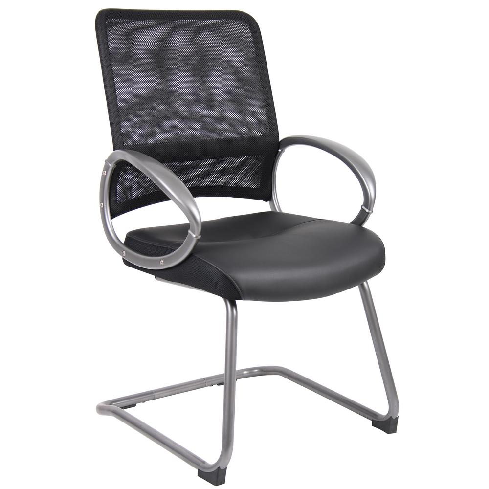Guest Chair Black Mesh Back Black Leather Seat Pewter Finish Arms and Frame Floor Glides