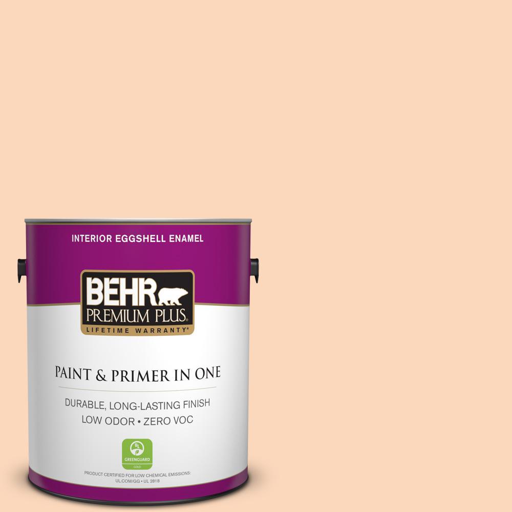 BEHR Premium Plus 1 gal. #260A-3 Peach Beige Eggshell Enamel Zero VOC Interior Paint and Primer in One