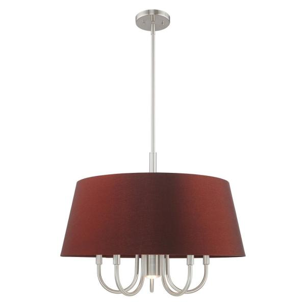 Belclaire 6-Light Brushed Nickel Pendant Chandelier with Red Wine Hardback Shade