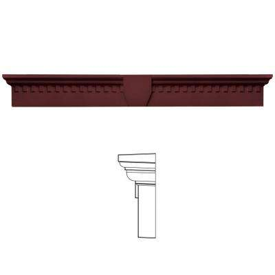 9 in. x 73 5/8 in. Classic Dentil Window Header with Keystone in 078 Wineberry