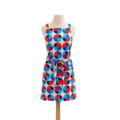 Circles Modern Print Cotton Butcher's Apron, Red and Blue