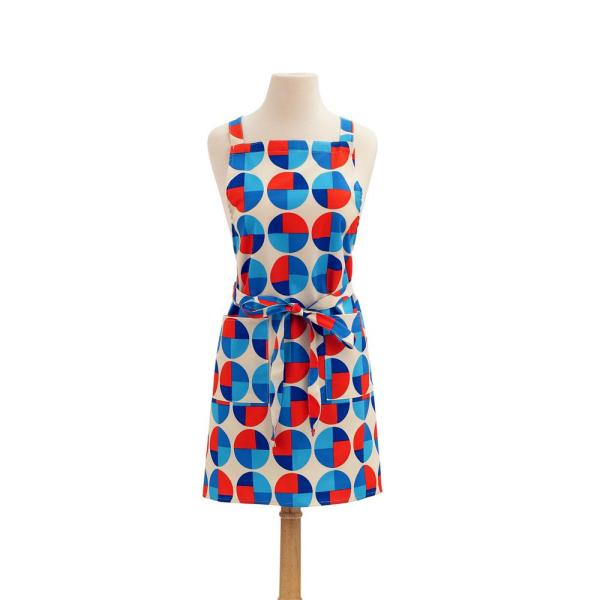 ASD Living Circles Modern Print Cotton Butcher's Apron, Red and Blue