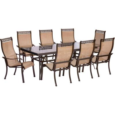 Monaco 9-Piece Aluminum Outdoor Dining Set with Rectangular Glass-Top Table and Contoured Sling Stationary Chairs