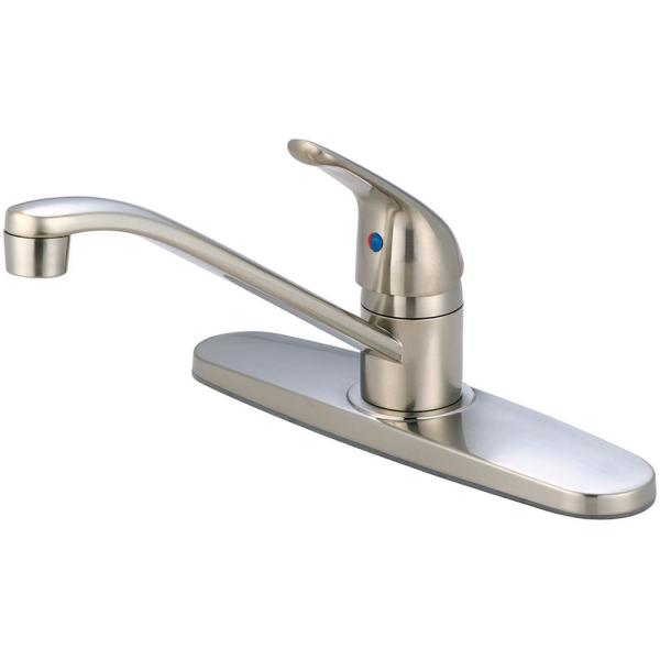 Elite Single-Handle Standard Kitchen Faucet with Supply Lines in Brushed Nickel
