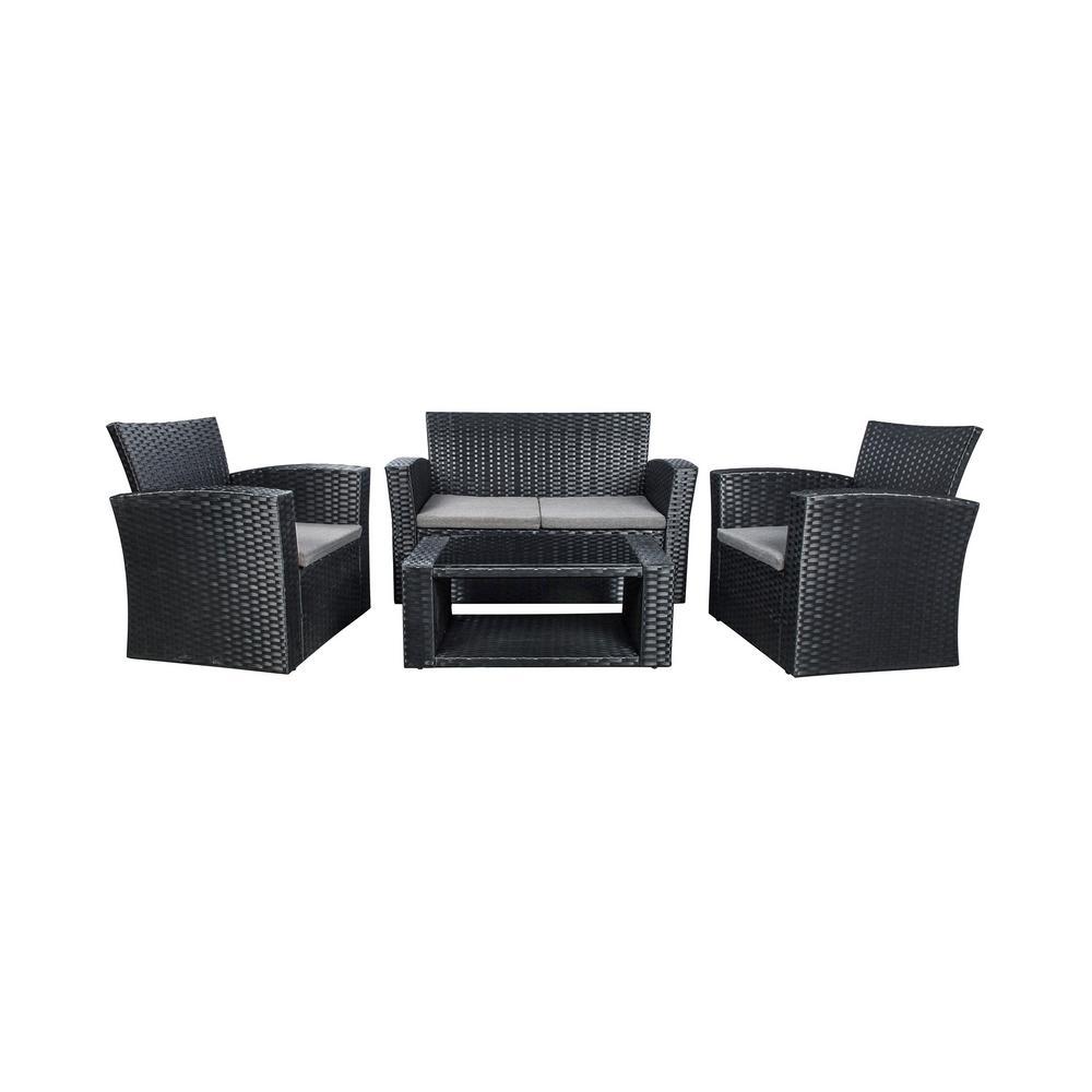 Westin Outdoor Hudson 4-Piece Black Rattan Wicker Patio Conversation Set with Gray Cushions