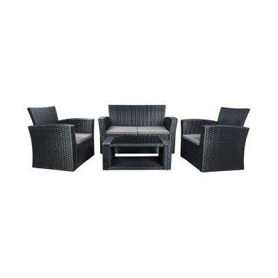 Hudson 4-Piece Black Rattan Wicker Patio Conversation Set with Gray Cushions