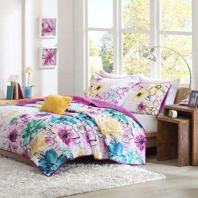 Ashley 4-Piece Blue Twin/Twin XL Floral Coverlet Set