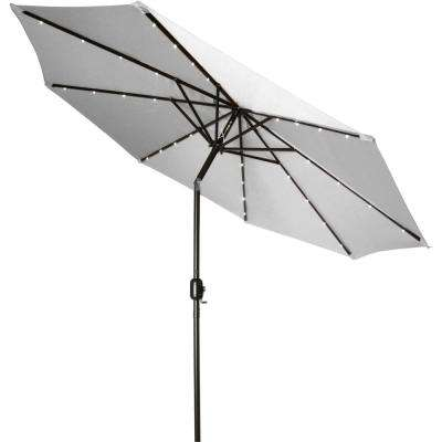 Deluxe Solar Powered Led Lighted Patio Umbrella In Gray