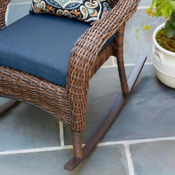 Hampton Bay Cambridge Brown Wicker Outdoor Patio Rocking Chair With Cushionguard Midnight Navy Blue Cushions 65 17148br The Home Depot