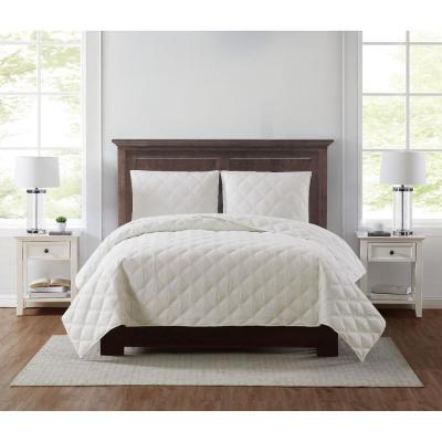 Everyday 3D Puff 3-Piece Quilted Ivory Full/Queen Quilt Set