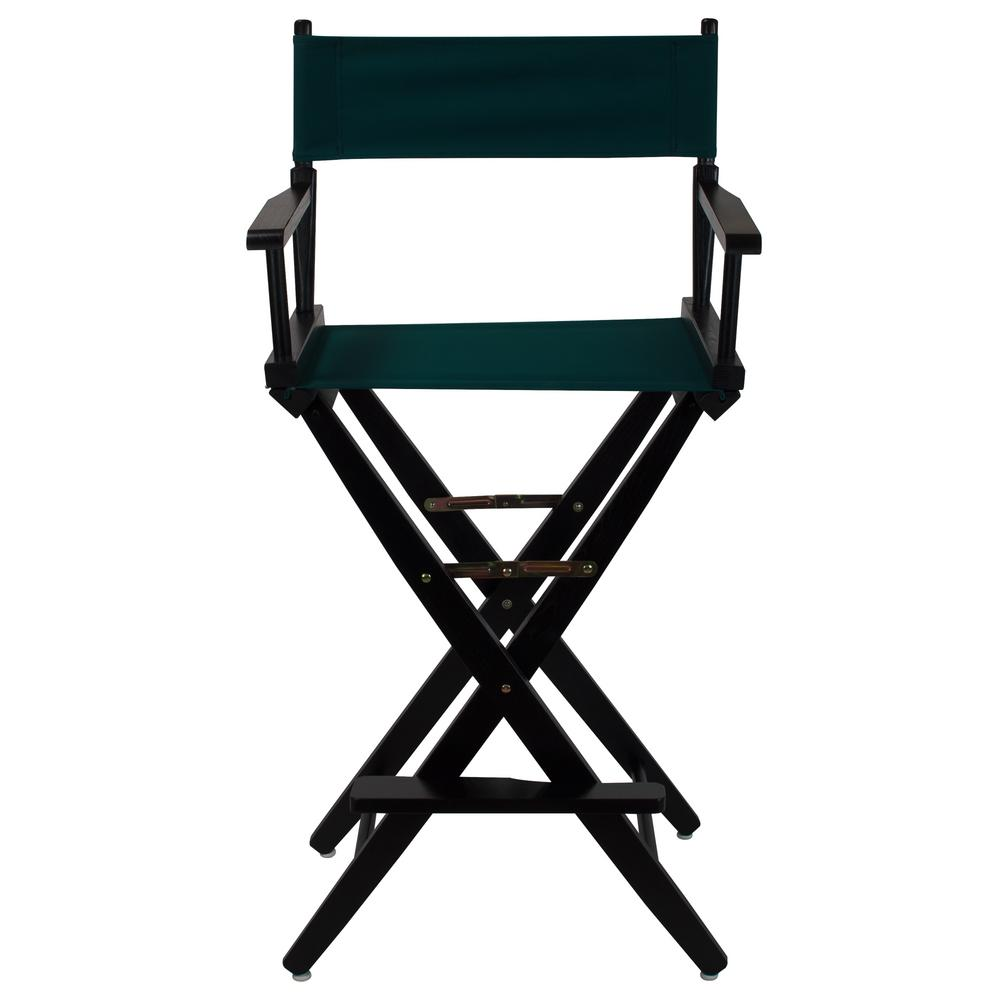 30 in. Extra-Wide Black Wood Frame/Hunter Green Canvas Seat Folding Directors Chair