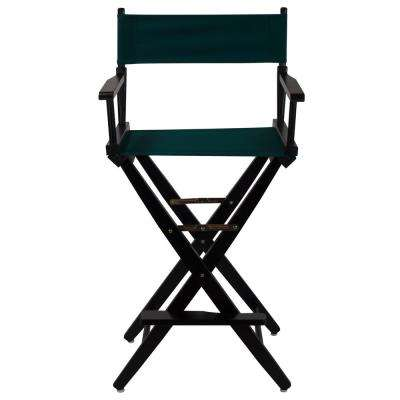 Extra-Wide Black Frame/Hunter Green Canvas American Hardwood 30 in. Directors Chair