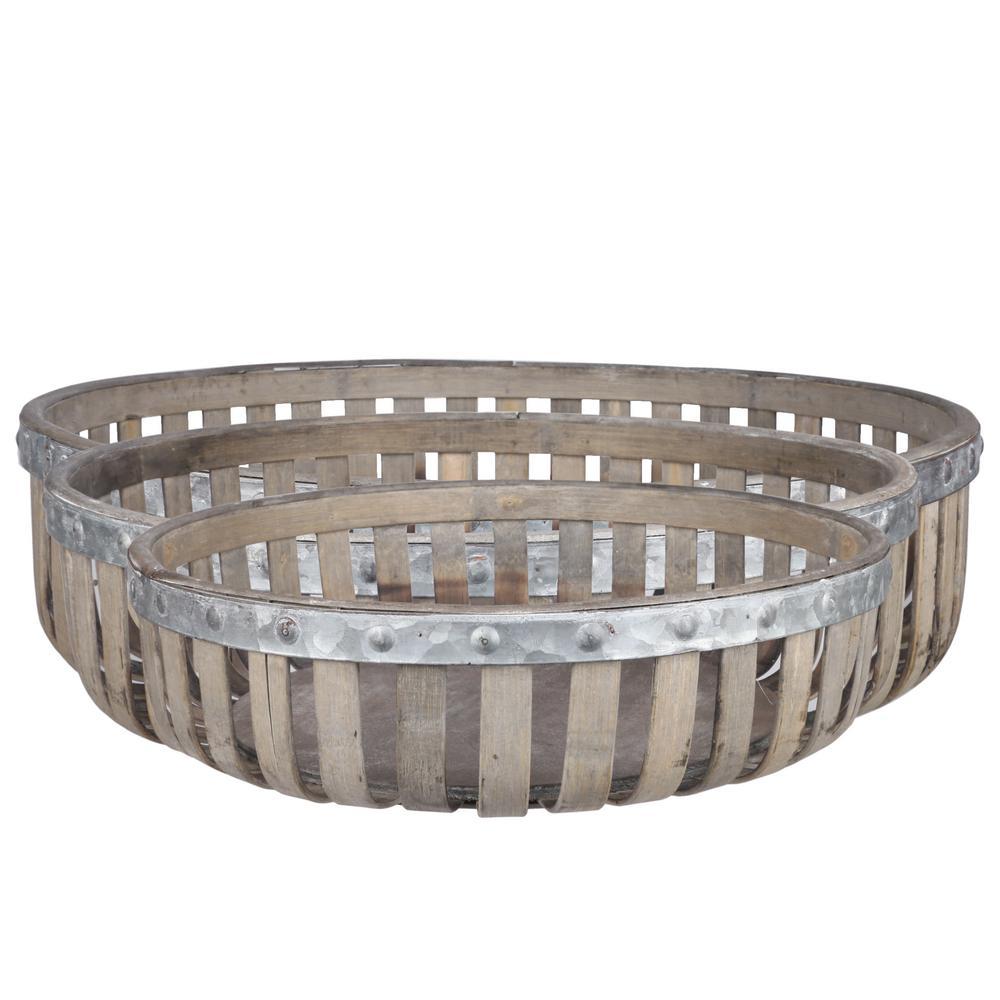 Round Wood Natural Washed Gray Decorative Basket (Set of 3)