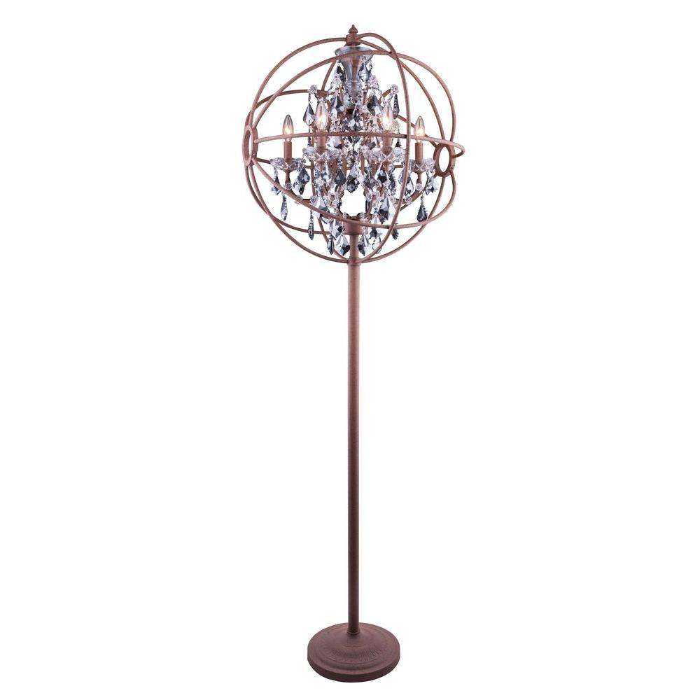 Elegant lighting geneva 715 in rustic intent floor lamp with rustic intent floor lamp with silver shade grey crystal aloadofball Images