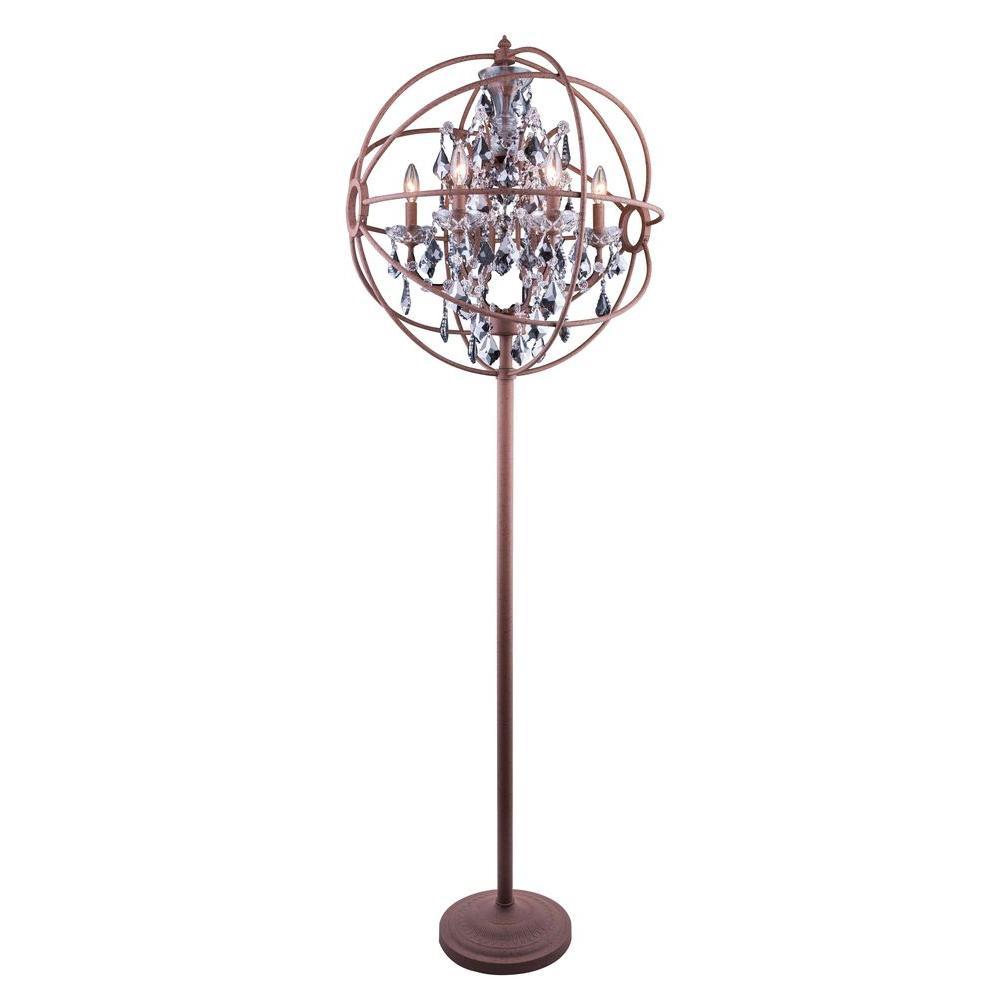 Geneva 71.5 in. Rustic Intent Floor Lamp with Silver Shade Grey Crystal