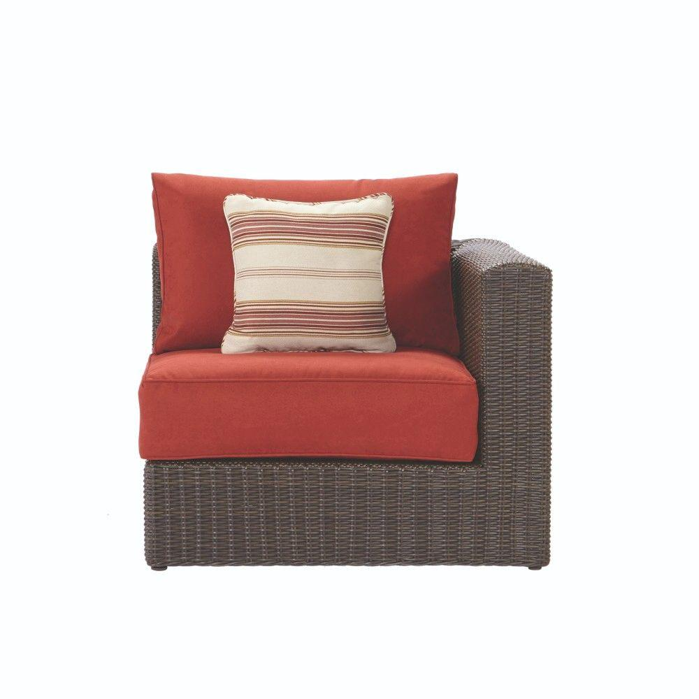 Home Decorators Collection Naples Brown All Weather Wicker Left/Right Arm  Outdoor Sectional Chair With Spice Cushions FRS50627FS   The Home Depot