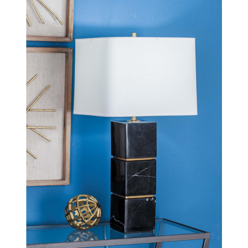 Modern White Marble Table Lamp With Stacked Black Marble Cubes 60189   The  Home Depot