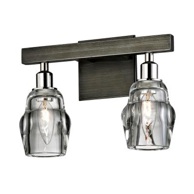 Citizen 2-Light Graphite and Polished Nickel Bath Light with Clear Pressed Glass Shade