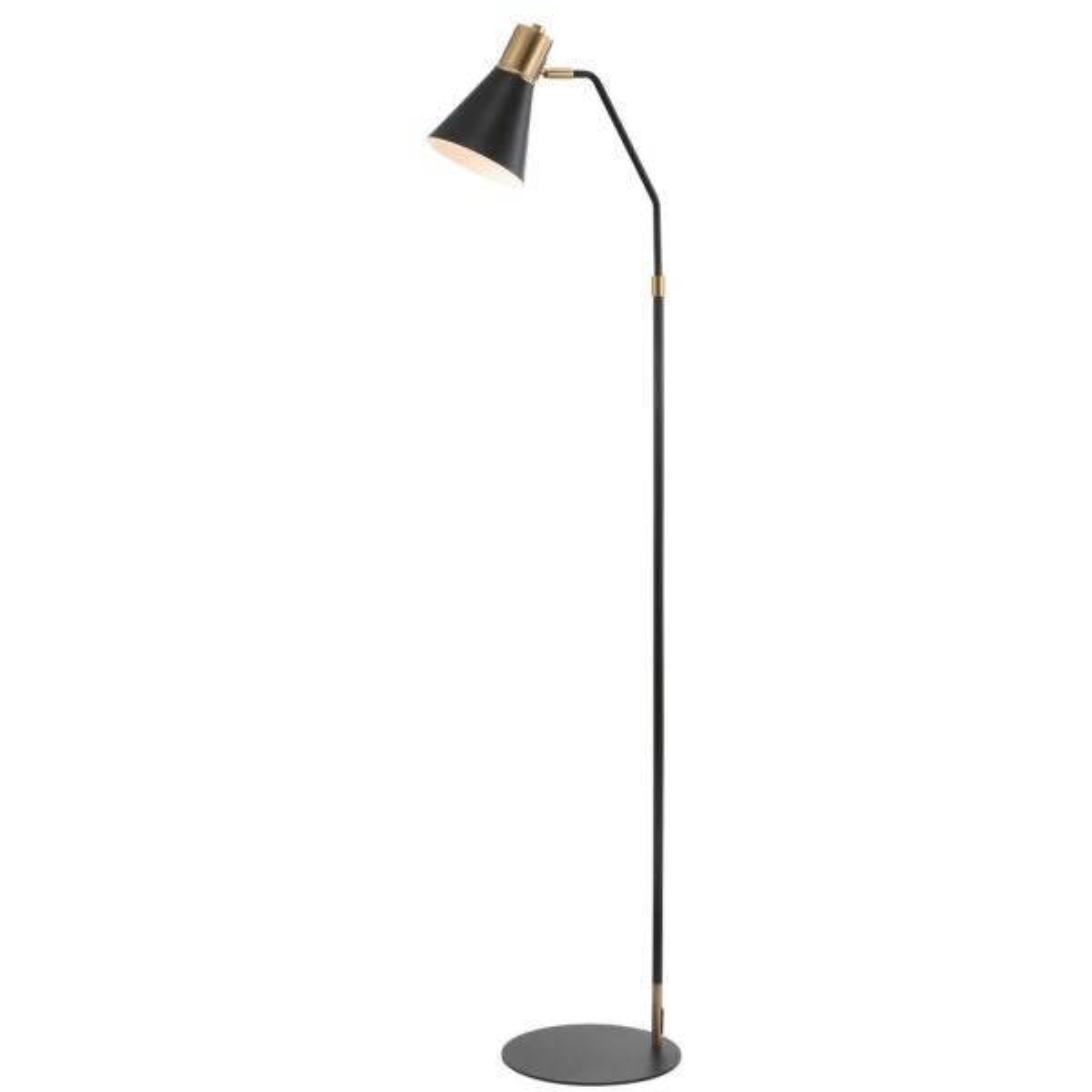 Apollo 61 in. Modern Metal LED Task Floor Lamp, Black/Brass Gold