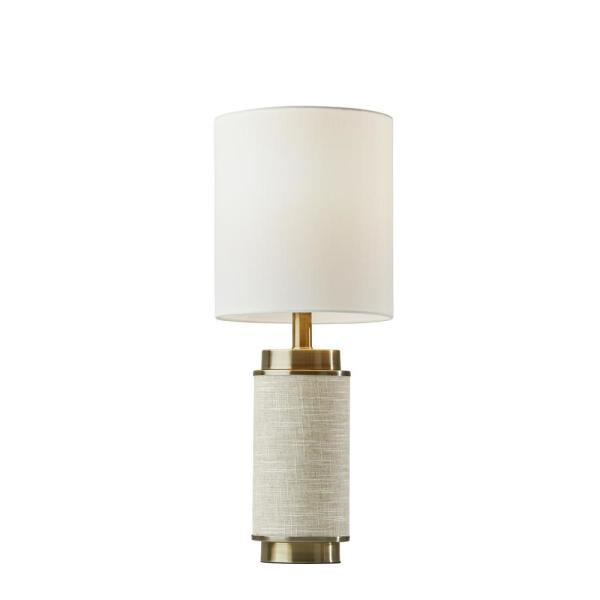 Marsha 22 in. Beige and Brass Table Lamp
