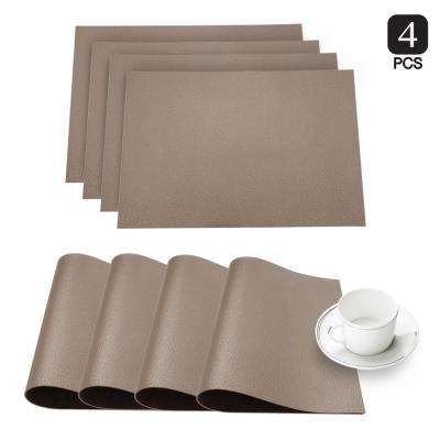 Pebble Taupe Faux Leather Placemat (Set of 4)