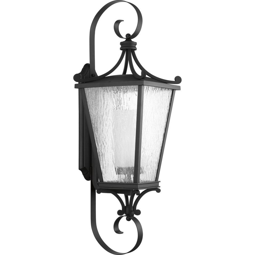 Cadence Collection 1-Light Outdoor 12 Inch Black Wall Lantern
