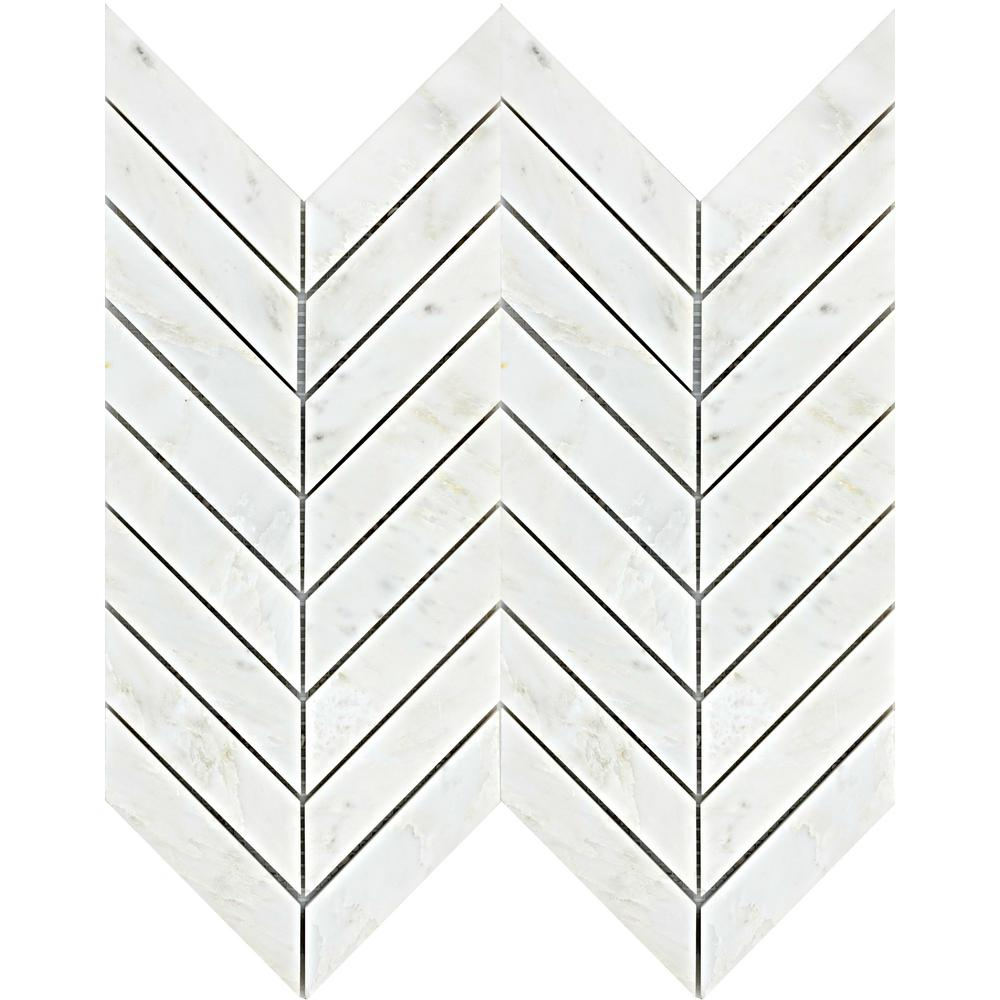 Emser Winter Frost Chevron 12 in. x 12 in. x 9mm Marble Mesh-Mounted Mosaic Floor or Wall Tile (10 sq. ft. / case)